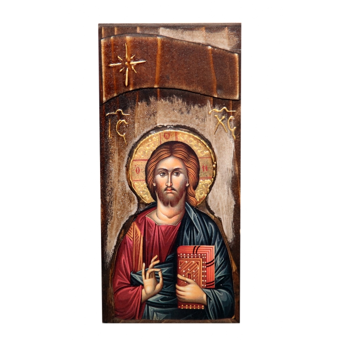 WOODEN ICON WITH JESUS CHRIST N18L