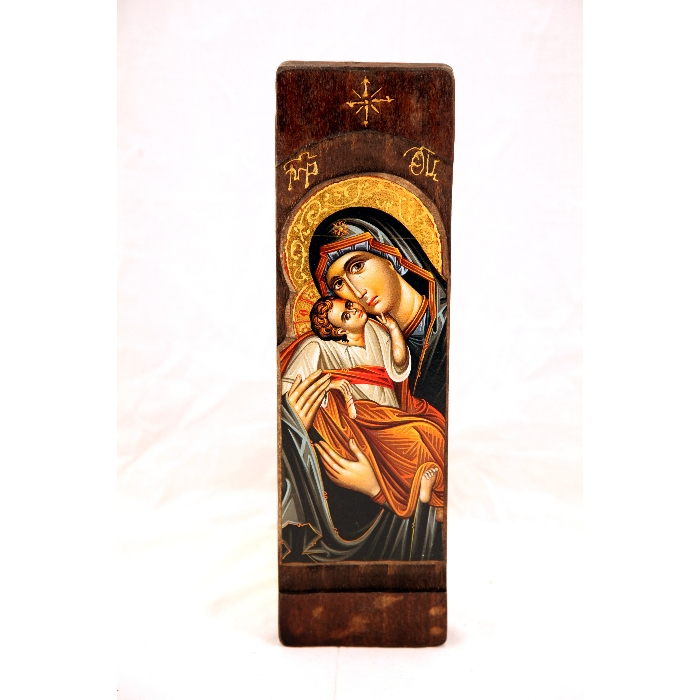 WOODEN ICON WITH VIRGIN MARY AND JESUS CHRIST N20