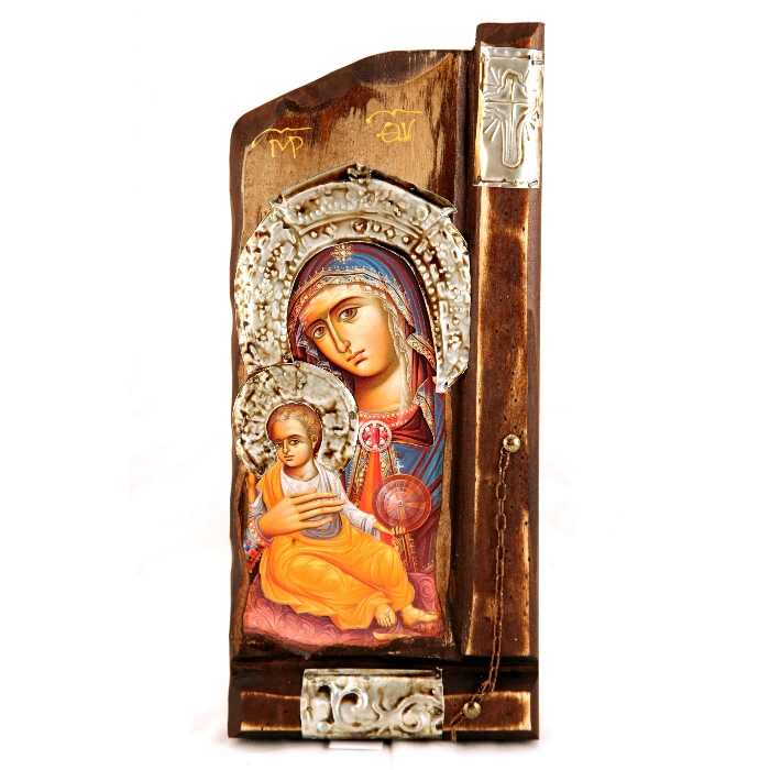 WOODEN ICON P10 VIRGIN MARY & JESUS CHRIST