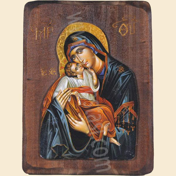 WOODEN ICON WITH VIRGIN MARY AND JESUS CHRIST R1