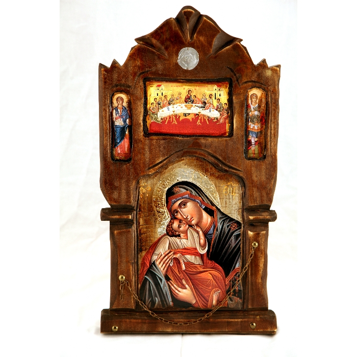WOODEN ICON P20 VIRGIN MARY & JESUS CHRIST