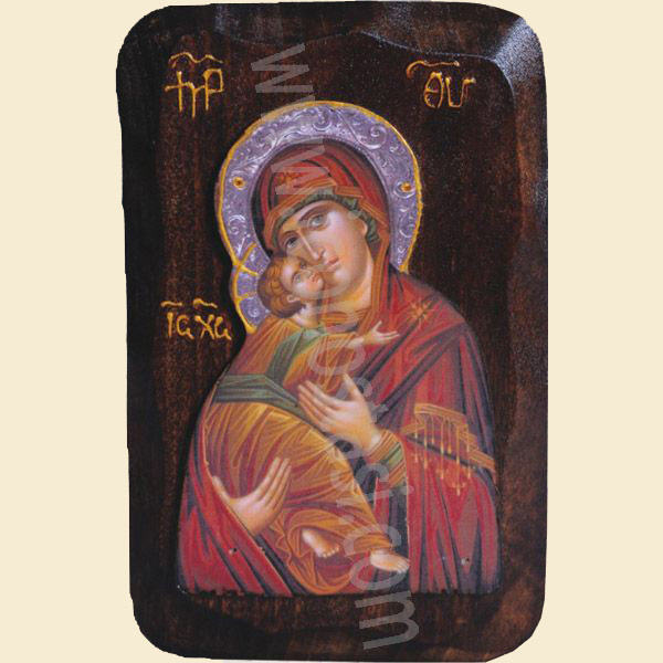 WOODEN ICON WITH VIRGIN MARY AND JESUS CHRIST R2
