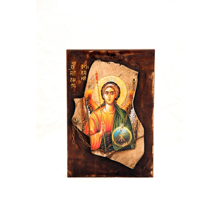 WOODEN ICON STONE 1 ARCHANGEL MICHAEL