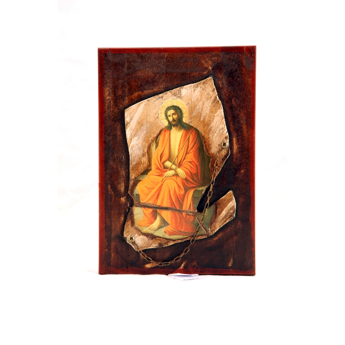 WOODEN ICON WITH JESUS CHRIST STONE 2