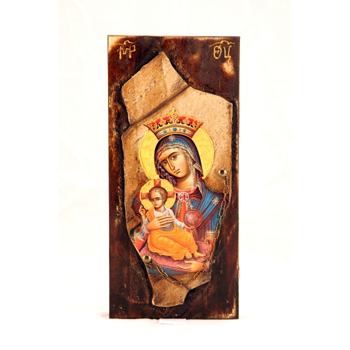 WOODEN ICON STONE WITH VIRGIN MARY AND JESUS CHRIST K3