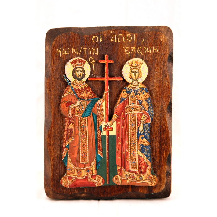 WOODEN ICON WITH SAINTS CONSTANTINE & HELEN R2