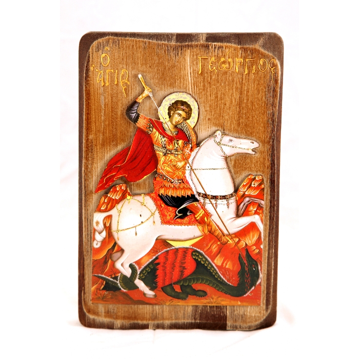 WOODEN ICON WITH SAINT GEORGE R3L