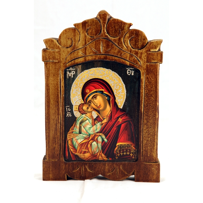 WOODEN ICON VIRGIN MARY & JESUS CHRIST S11X