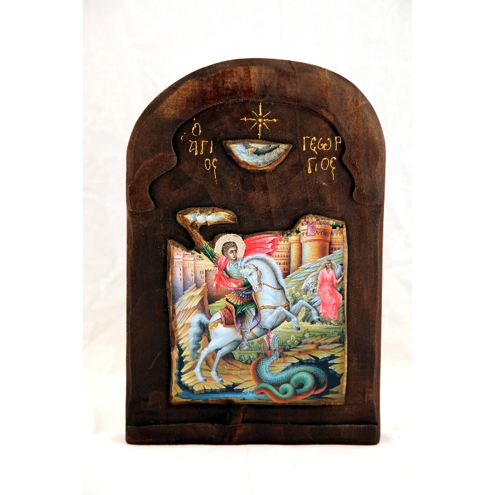 WOODEN ICON SAINT GEORGE S3