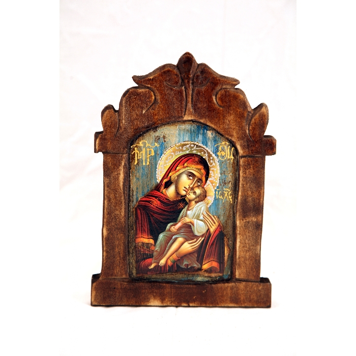 WOODEN ICON VIRGIN MARY & JESUS CHRIST S9