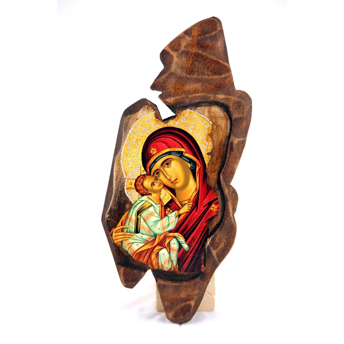 WOODEN ICON SF VIRGIN MARY & JESUS CHRIST