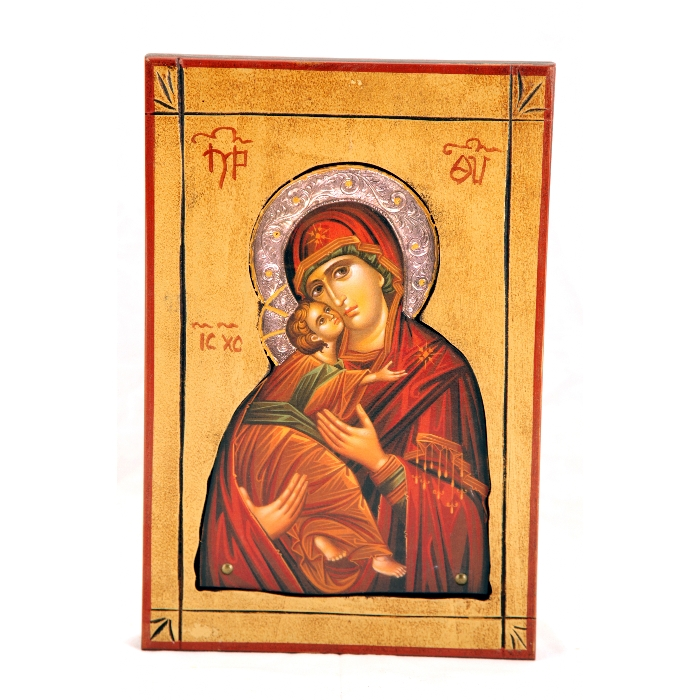 WOODEN ICON 3SK VIRGIN MARY & JESUS CHRIST