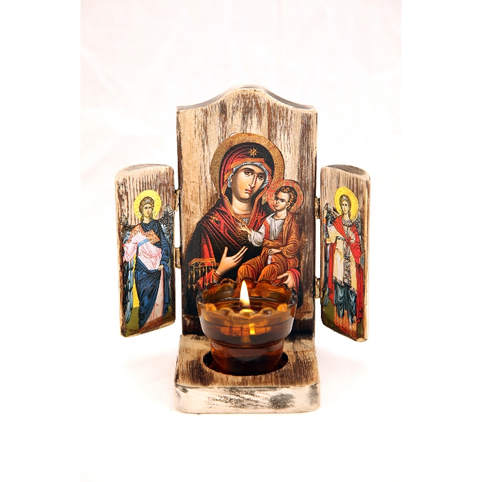 WOODEN ICON TRIPTYCH WITH VIRGIN MARY AND JESUS CHRIST 1L
