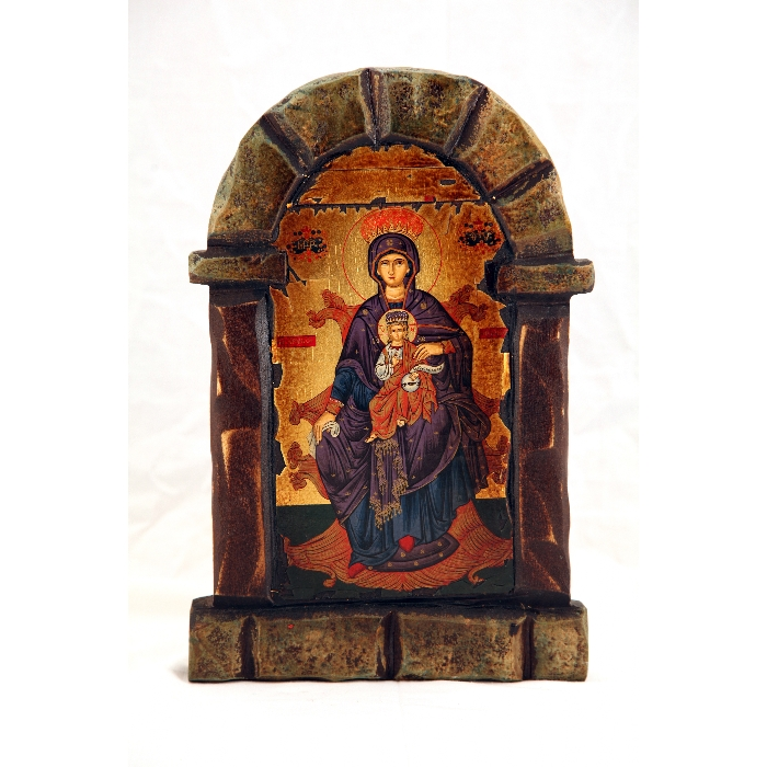 WOODEN ICON FIREPLACE VIRGIN MARY & JESUS CHRIST