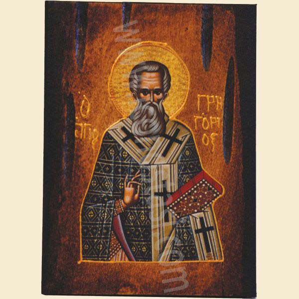 WOODEN ICON a3 SAINT GREGORY