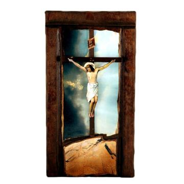 WOODEN ICON WITH CRUCIFIX A10 52x28 cm