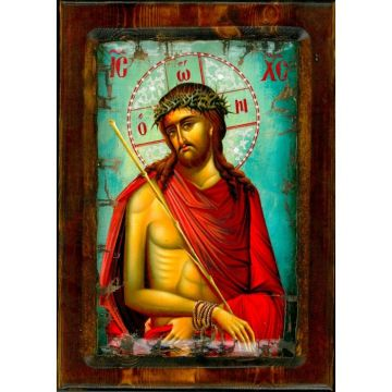 WOODEN ICON WITH JESUS CHRIST ON PAINTING CANVAS M61 40x25 cm