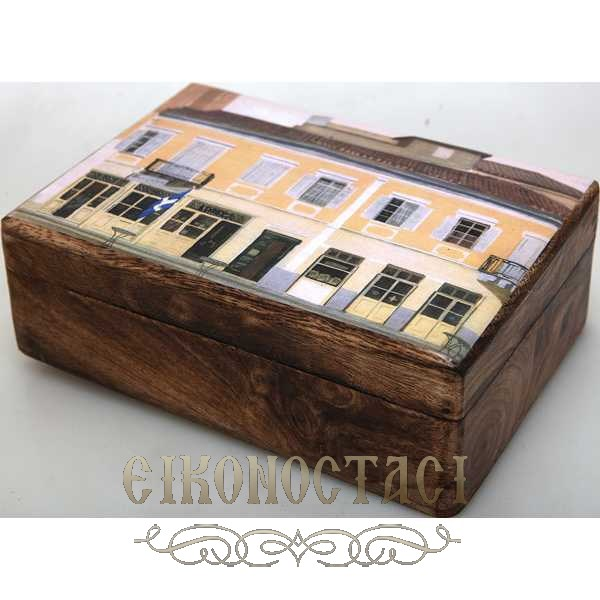 WOODEN GREEK STORAGE BOX (R33)