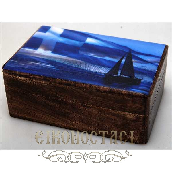 WOODEN STORAGE BOX WITH GREEK FLAG (R32_2)