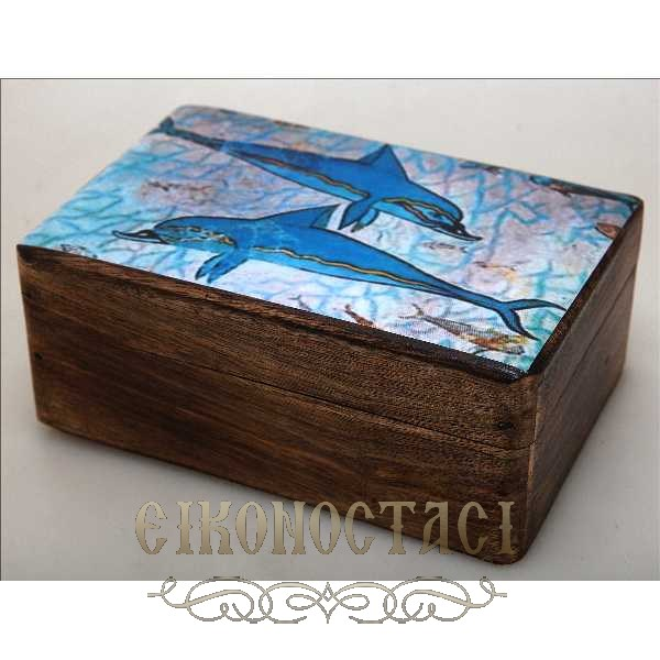 WOODEN STORAGE BOX WITH DOLFINS (R32_3)