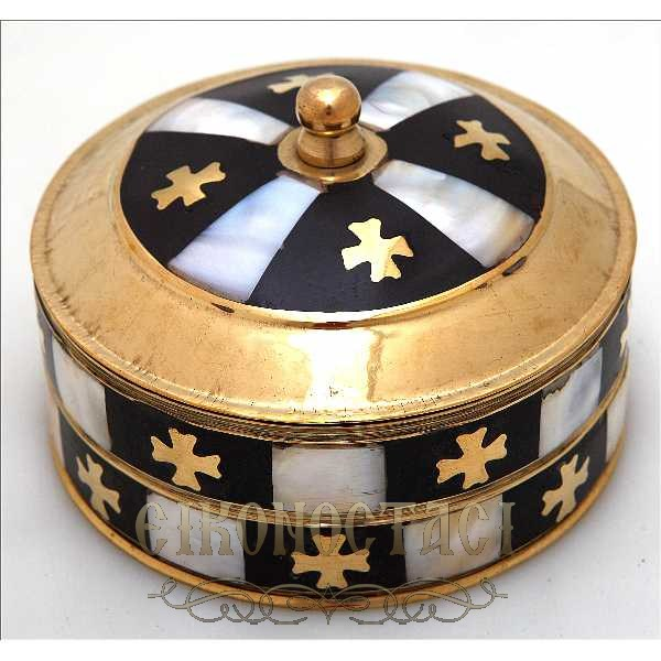 BRASS ORTHODOX STORAGE BOX WITH FILDISI (357)