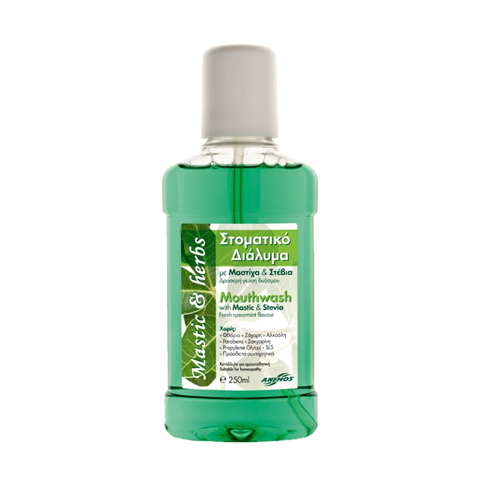 MOUTHWASH WITH MASTIC STEVIA AND SPEARMINT 250 ml.