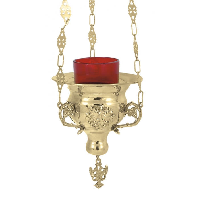 BRONZE CHURCH OIL LAMP WITH CHAIN (9899B)