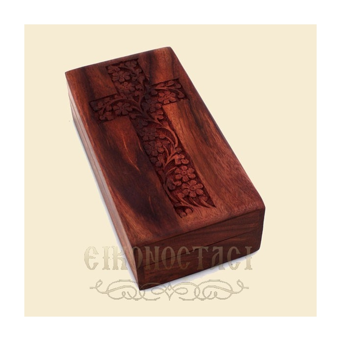 WOODΕΝ STORAGE BOX WITH CARVED CROSS (390)