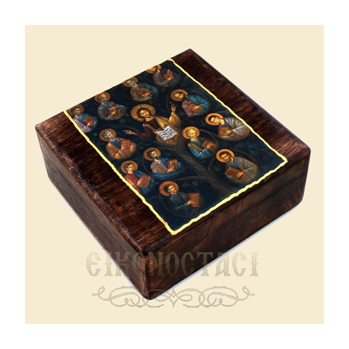 WOODEN STORAGE BOX WITH A DISPLAY OF JESUS CHRIST & STUDENTS (R31B)