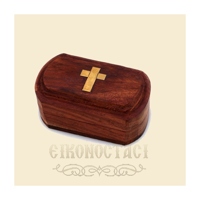 WOODEN STORAGE BOX WITH DECORATIVE CROSS (274)