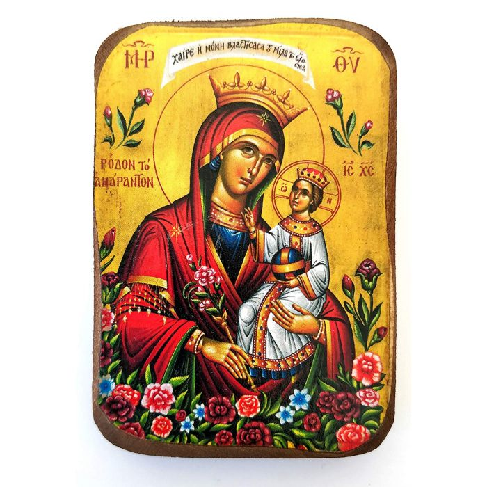 BOMBONNIERE ICON OF VIRGIN MARY THE UNWITHERING ROSE A0 8.5x6 cm