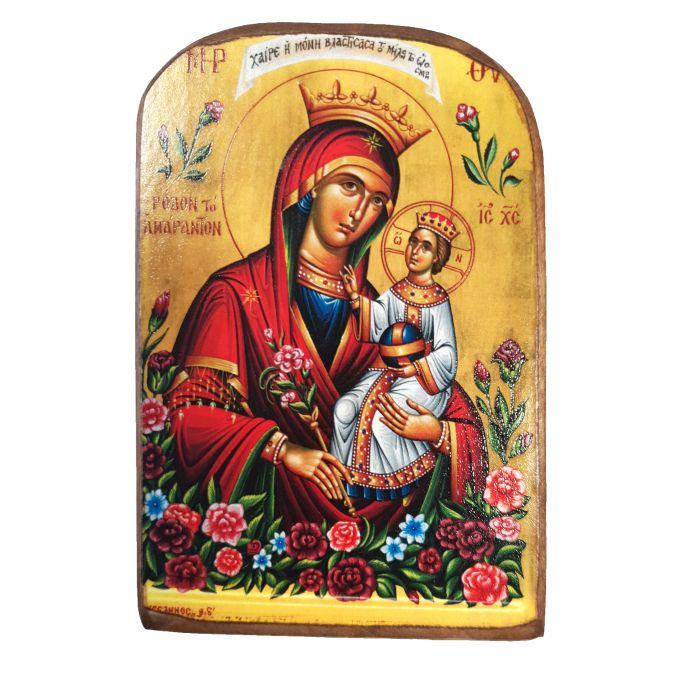 BOMBONNIERE ICON OF VIRGIN MARY THE UNWITHERING ROSE MP2 13x9 cm