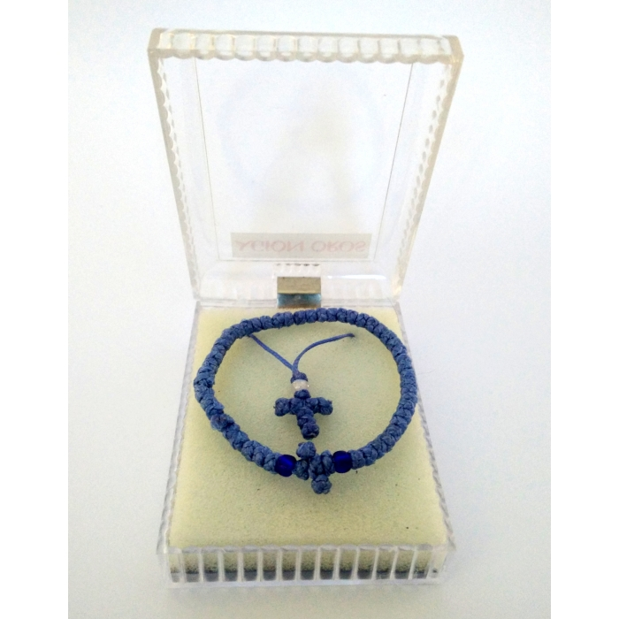 PRAYER ROPE AND CROSS PENDANT SET BLUE