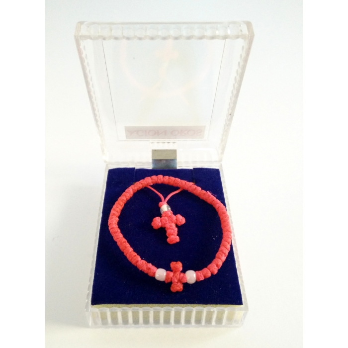 PRAYER ROPE AND CROSS PENDANT SET RED