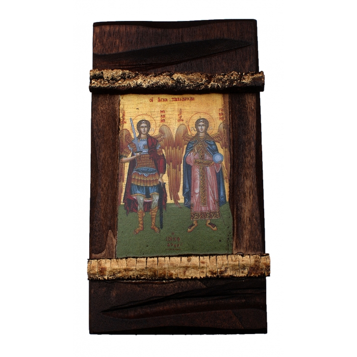 BOMBONNIERE WOODEN ICON MP3/3 WITH THE ARCHANGELS MICHAEL & GABRIEL