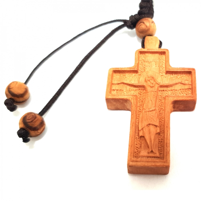 WOODEN TWO SIDED CROSS PENDANT no.19