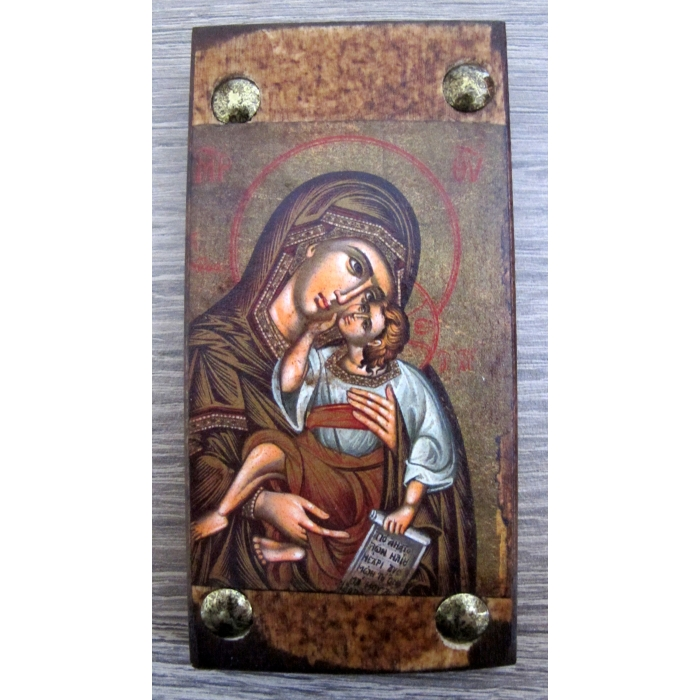 BOMBONNIERE WOODEN ICON MP6 VIRGIN MARY & JESUS CHRIST
