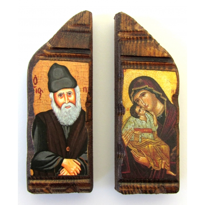 SET OF 2 MAGNET ICONS WITH VIRGIN MARY & SAINT PAISIOS