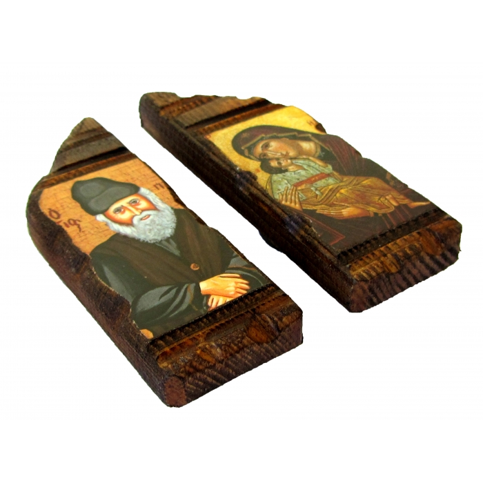 SET OF 2 MAGNET ICONS WITH VIRGIN MARY & SAINT PAISIOS 7.5x2.5 cm each