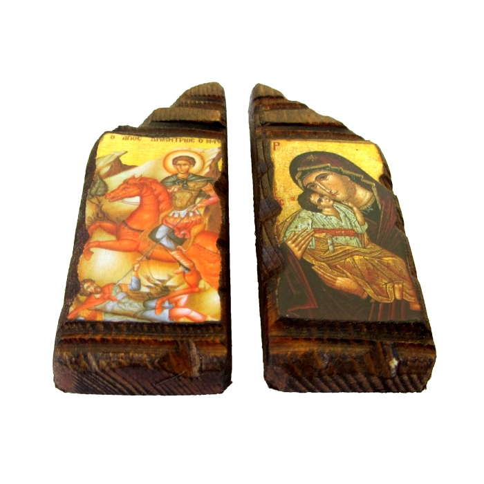 SET OF 2 MAGNET ICONS WITH VIRGIN MARY & SAINT DEMETRIUS
