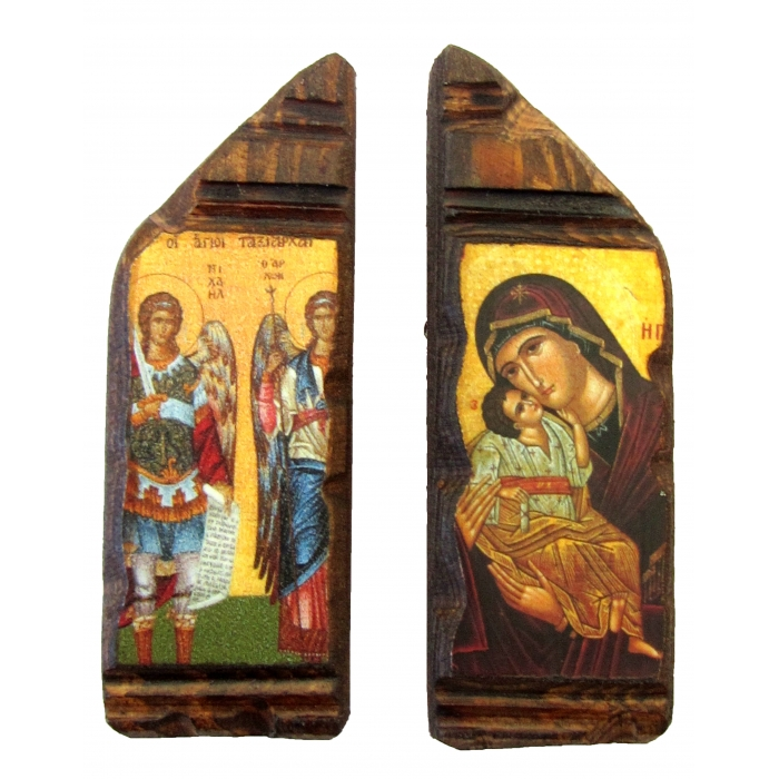 SET OF 2 MAGNET ICONS WITH VIRGIN MARY & ARCHANGELS