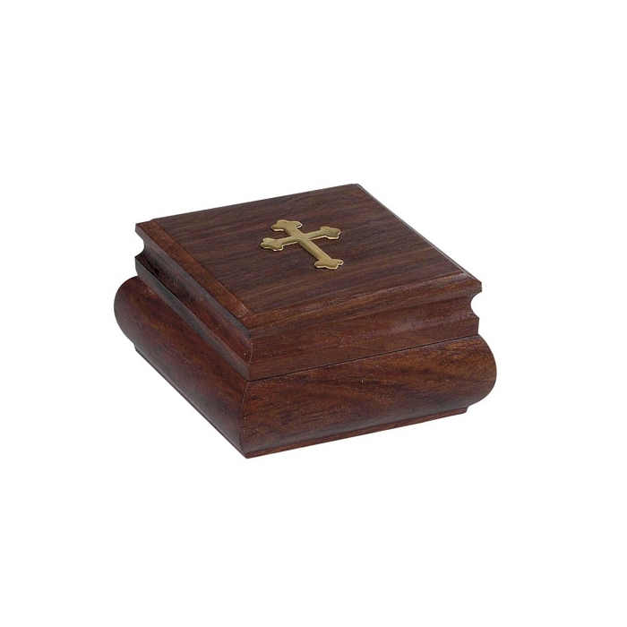 WOODEN STORAGE BOX WITH DECORATIVE CROSS (9444)