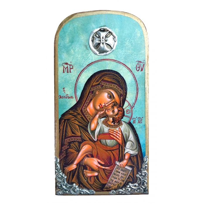 WOODEN ICON VIRGIN MARY & JESUS CHRIST OP10 20x10 cm