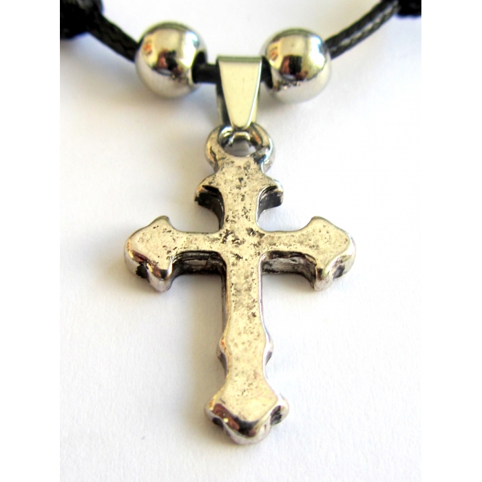 STAINLESS STEEL TWO SIDED CROSS PENDANT no.51