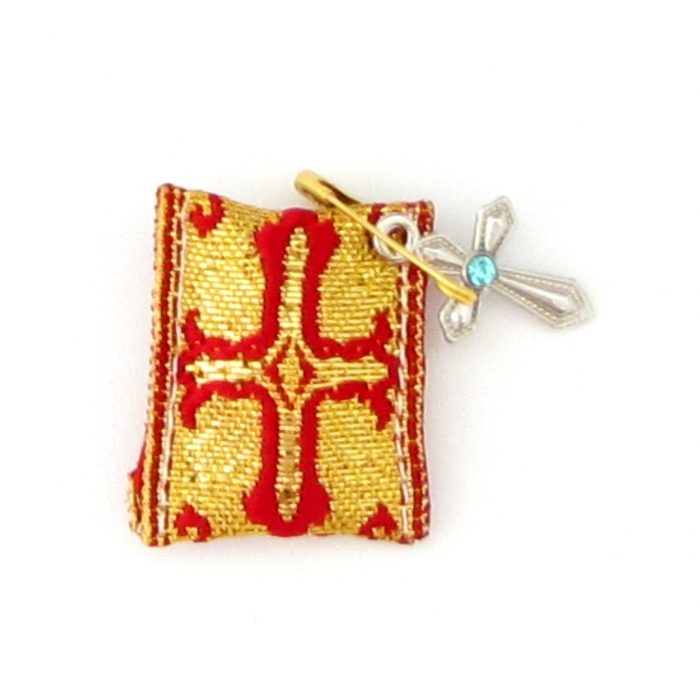 TALISMAN WITH CROSS RED - GOLD