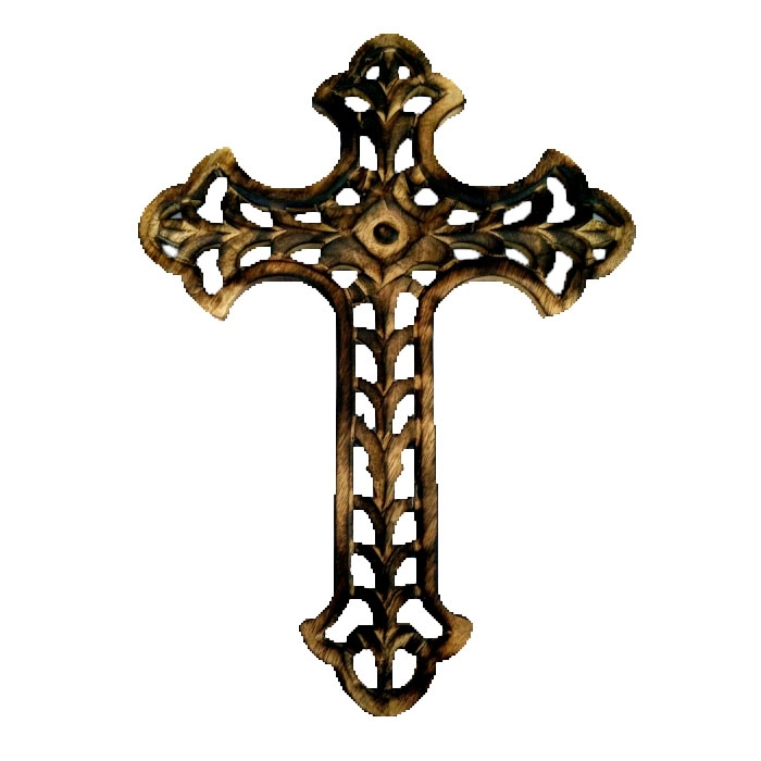 WOOD CARVED CROSS R15