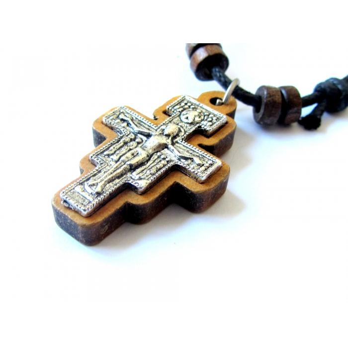 WOODEN TWO SIDED CROSS PENDANT no.53