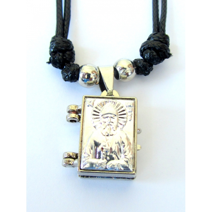 DOUBLE FACE STAINLESS STEEL CROSS PENDANT SAINT PAISIOS no.56
