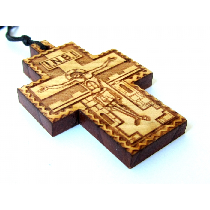TWO SIDED WOODEN CROSS PENDANT no.58