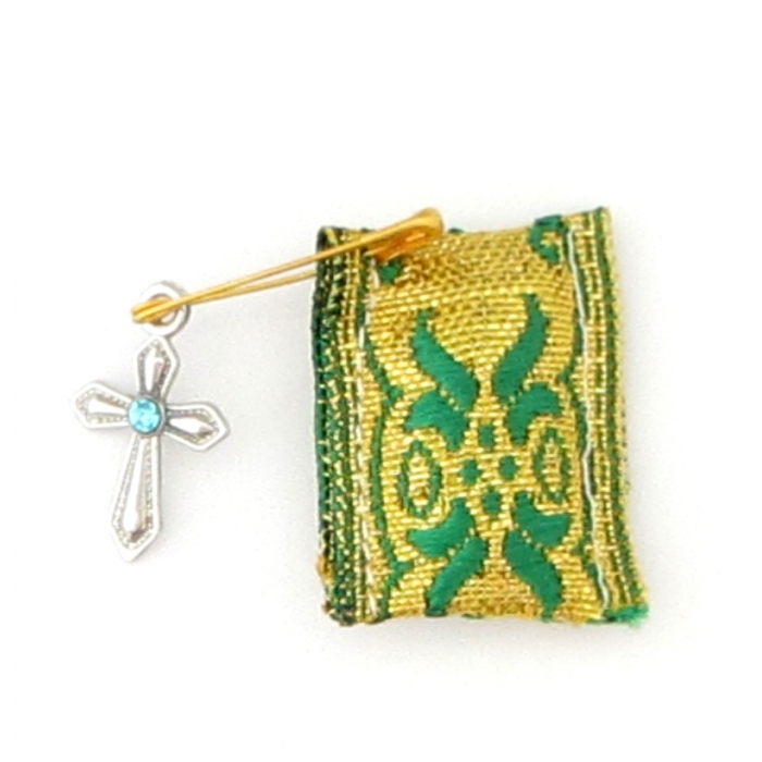 TALISMAN WITH CROSS GREEN - GOLD